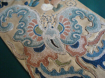 Antique Chinese Silk Embroidery Sleeve Panel Moths & Flowers Forbidden Stitch