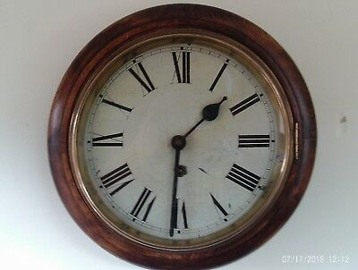 antique mechanical wind up station wall clock