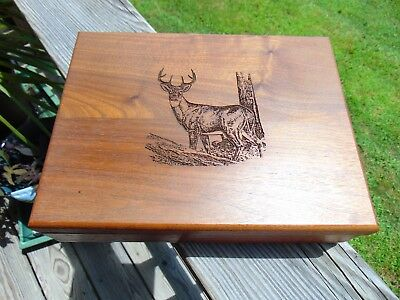 Wooden Collectible Box with Buck Deer Engraving and Black Velvet Lining