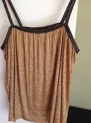 b80adabd VINTAGE 1970S YVES Saint Laurent YSL Copper Lurex Pleated Camisole S/M