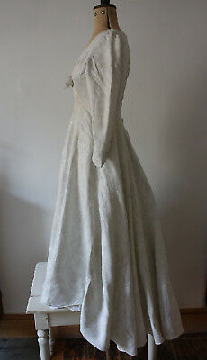 Vintage 1950s White + Silver Wedding Dress Approx S 8-10 for Restoration Ivory