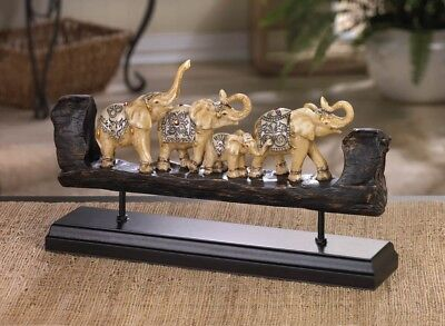 Accent Plus Elephant Family Carved Decor