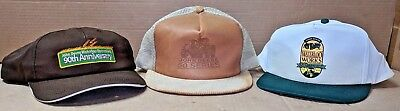 LOT 3 JOHN DEERE Hats Caps Leather 50 Series Tractors Waterloo Anniversary 80th