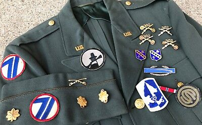 WW2 US Army 71st 94th ID Uniform Insignia Patches Ribbon Bar ID'd Hat Officer