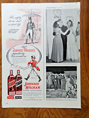1945 Johnnie Walker Scotch Whiskey Ad Safety Device   Lightning Rod Umbrella