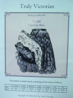 Saloon Girl Gypsy ruffled layered can-can skirt Sewing pattern for 1890's TV280