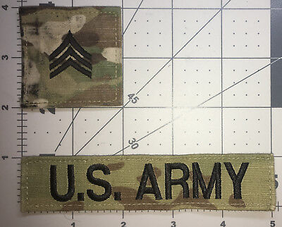 Us Army Ocp E5 Sergeant Rank And Us Army Tape W/hook Set Of 2  Used (A34)