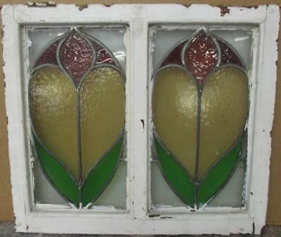 "OLD ENGLISH LEADED STAINED GLASS WINDOW Gorgeous Double Floral 20.5"" x 18"""