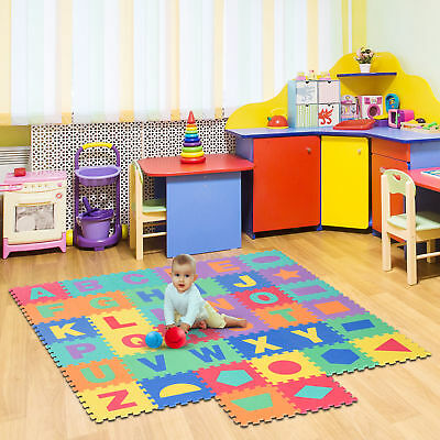 HOMCOM 38 pcs Baby Puzzle Play Mat Jigsaw Alphabet & Geometry Activity EVA Foam