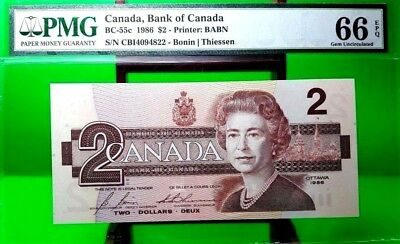 MONEY CANADA $2 DOLLARS 1986 BANK OF CANADA PMG GEM UNC BC - 55c
