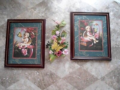 Set Of 2 HOME INTERIORS Angel Cherub Roses Wall  Pictures By D. Giacomo