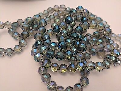 Multi-color Plated Faceted Round Glass Beads,  Qty 10 Size: about 10mm