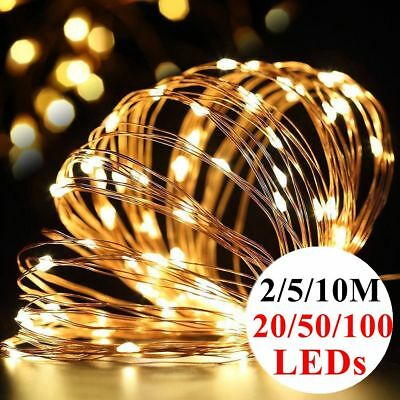 20/50/100 WarmWhite LED Battery Micro Rice Wire Copper Fairy String Lights Party