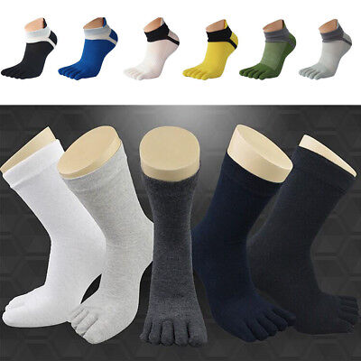 1/5Pairs Womens Mens Casual Cotton Toe Socks Sports Five Finger Socks 8Color New