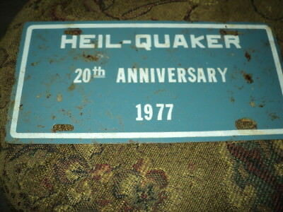 1977 Heil Quaker State 20th Anniversary License Plate Sign large low start N/R