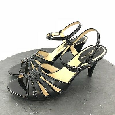 """93bcc511a403 Cole Haan Black Open Toe Heels Ankle Strap 3"""" Strappy Pumps Womens Size 8.5  L"""