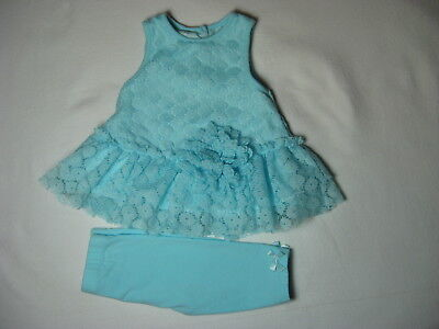 Baby Girl 2-Piece Outfit by Marmellata Size 6-9 mo EXC Light Blue, Lace