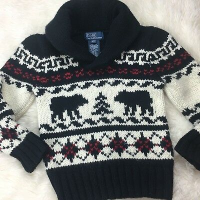 Ralph Lauren Polo Boys 3 3T Fair Isle Nordic Sweater Red Black Holiday Style