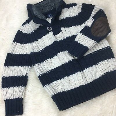 Baby GAP Boys Toddlers 3 3T Navy Cream Striped Sweater Elbow Patch Fall Holiday