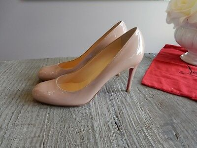 13045cad5c6 NEW CHRISTIAN LOUBOUTIN Simple 85mm round toe Nude Patent Red Sole Pumps  39.5