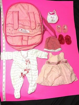 American Girl Doll ~ Bitty Baby Twin ~ Pink Starter Set Pieces ~ Backpack ~ Book