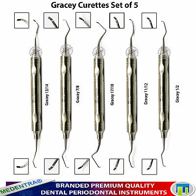 Dental Gracey Periodontal Curettes Tooth Cavity Scalers 10mm Handle Set of 5