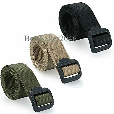 Mens Outdoor Sports Military Tactical Nylon Waistband Canvas Web Belt Adjustable