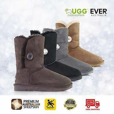 5aa7af48a74 NEW UGG BOOTS Genuine Sheepskin Short Cuff Roll Ladies Black Brown Size  35-40 EU