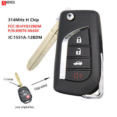 2+1 Button Upgraded Remote Key Fob 314MHz H for Toyota RAV4 Prius C/V 2014-2016