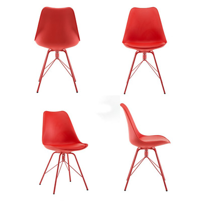 Set of 4  Fabric Dining Chairs Dining Room Chair with Metal Legs Modern Style