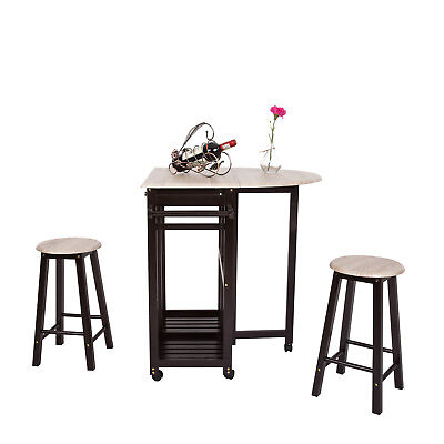 Wooden Rolling Kitchen Trolley Cart 3-Piece Table Dining Set Foldable Drop Leaf