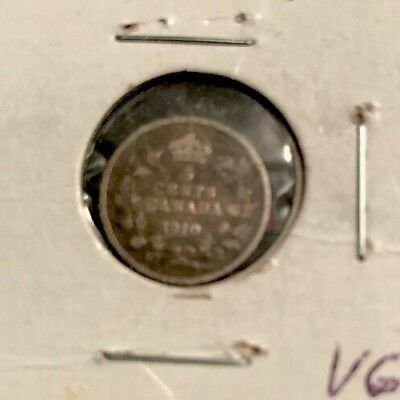 1910 5c Canada Five Cent Piece (VG to F)