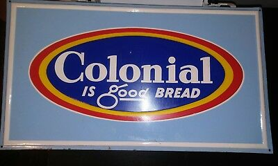 NOS Colonial Bread Emboised Metal Sign 70s