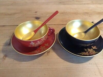 Japanese Lacquer Ware Cups Saucers W/tea Spoons, Red/gold, Black/gold- Pair