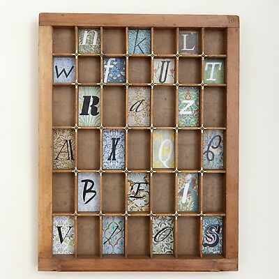 Small Wooden Printers Tray Display Cabinet Artwork with Typography Theme