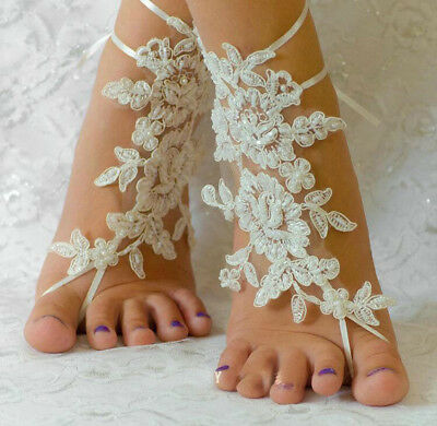 c02c4730943b3 Lace footwear Wedding Anklet Beach Foot Chain Barefoot Sandal Bridal  Jewelry NEW