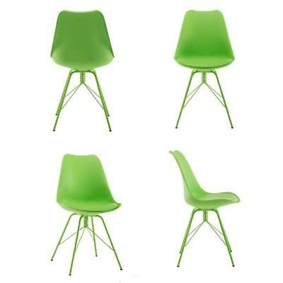 Set of 4 Dining Chairs with PU Seat&Metal leg Modern Style Chair Fresh Green