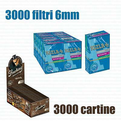3000 CARTINE SMOKING BROWN CORTE MARRONI + 3000 FILTRI RIZLA SLIM 6 mm