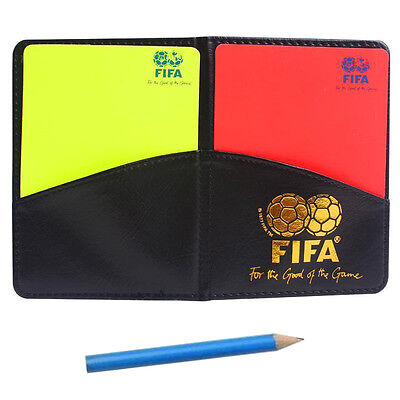 Referee Cards Red/Yellow Football Sport Wallet Notebook Pencil Soccer Refs Set@s