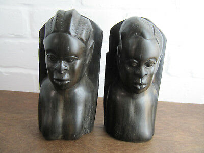 Pair of African Carved Man and Wooman Bookents, Vintage / Antique, Lignum Vite
