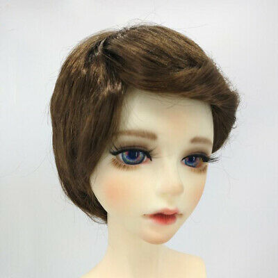 BJD Doll Full Wig 8-9inch 18-20cm for DOD LUTS DZ AE Brown Short Curled Hair