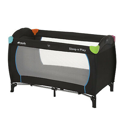 Hauck Sleep n Play Center Travel Cot Black and Multicolour Suitable from birth