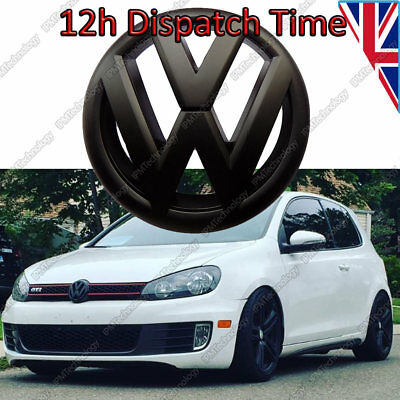 Volkswagen Golf VW Mk6 VI Front Black Badge Matte Logo Emblem Bonnet 135mm