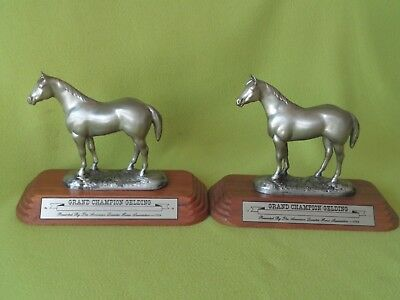 Pair 2 AQHA Quarter Horse Grand CHAMPION Trophy Statue~Americana Collectible~NR!