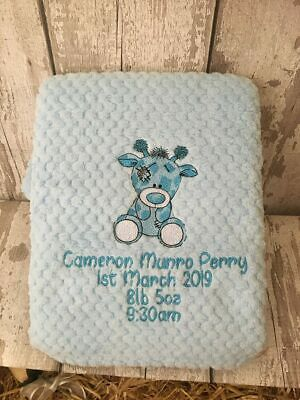 Personalised Baby Blanket Embroidered Soft Waffle  Giraffe Design