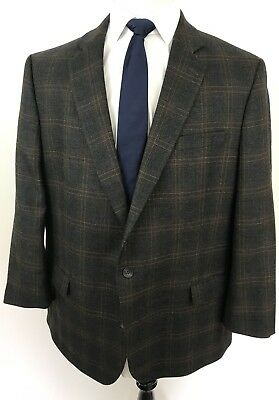 Men's Stafford Size 48R Portly Fit 2 Btn Sport Coat Blazer Brown Plaid