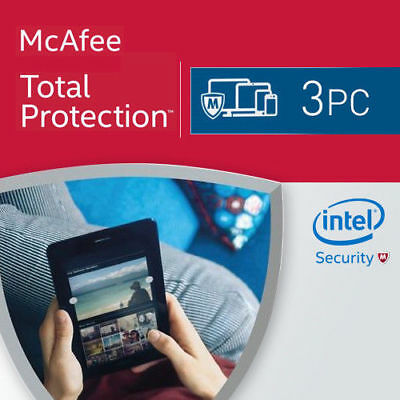 McAfee Total Protection 2019 3 PC 12 Months License Antivirus 2018 US