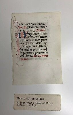 Medieval Manuscript Leaf from a Book of hours-vellum - year 1443 -Genoa-