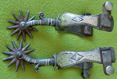 """Outstanding DOUBLE Mounted Sterling Silver Antique California SPURS~2"""" Rowel~NR!"""