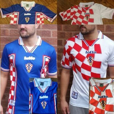 Home & Away Croatia Hrvatska 1998 - 2001 Retro Vintage Football Shirt Jersey